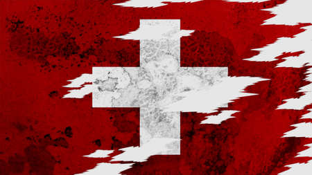 lacerate: switzerland flag lacerate old texture with seam Stock Photo