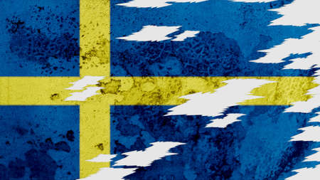 lacerate: sweden flag lacerate old texture with seam Stock Photo