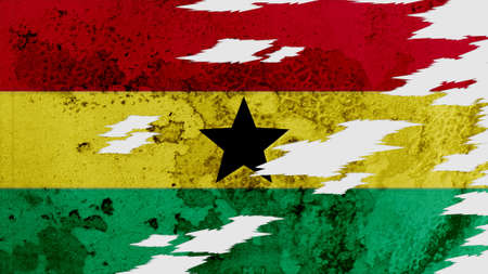 lacerate: ghana flag lacerate old texture with seam