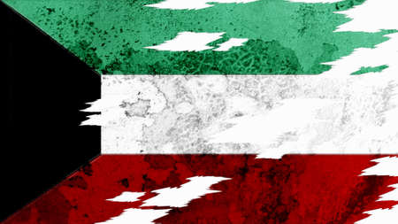 lacerate: kuwait flag lacerate old texture with seam Stock Photo