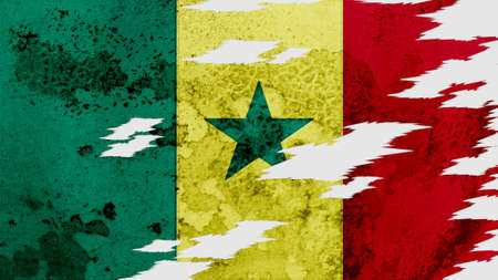 lacerate: senegal flag lacerate old texture with seam Stock Photo