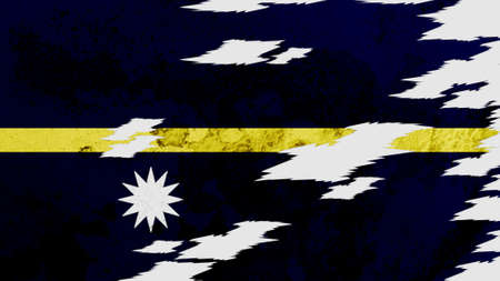 lacerate: Nauru flag lacerate texture Stock Photo