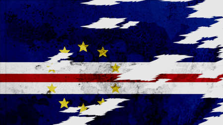 lacerate: cape verde Flag lacerate texture Stock Photo