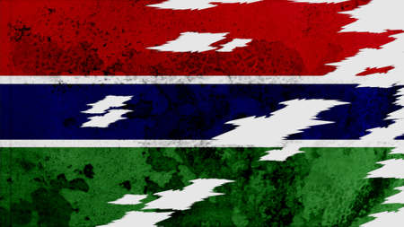 clime: gambia  Flag lacerate texture Stock Photo