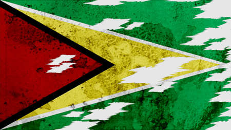 lacerate:  guyana Flag lacerate texture Stock Photo