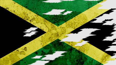 lacerate: jamaica Flag lacerate texture Stock Photo