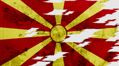 lacerate: macedonia Flag lacerate texture Stock Photo
