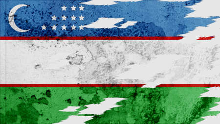 clime: uzbekistan Flag lacerate texture Stock Photo