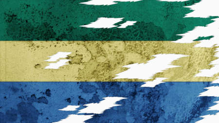 lacerate: gabon flag lacerate old texture with seam Stock Photo