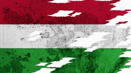 lacerate: hungary flag lacerate old texture with seam Stock Photo