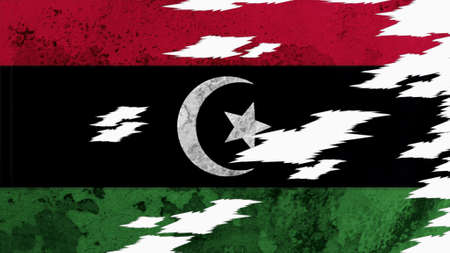 lacerate: libya flag lacerate old texture with seam