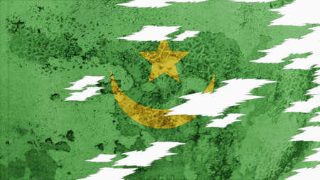 lacerate: mauritania flag lacerate old texture with seam Stock Photo