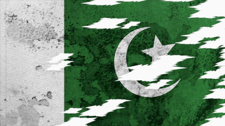 lacerate: pakistan flag lacerate old texture with seam