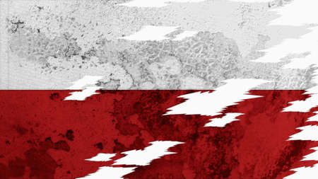 lacerate: poland flag lacerate old texture with seam Stock Photo