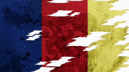 lacerate: romania flag lacerate old texture with seam
