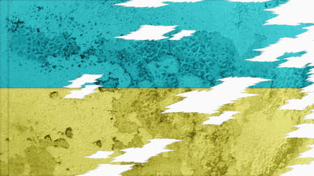 lacerate: ukraine flag lacerate old texture with seam Stock Photo