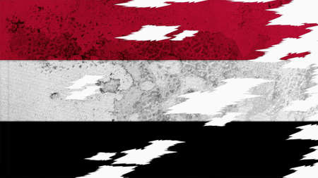 lacerate: yemen flag lacerate old texture with seam