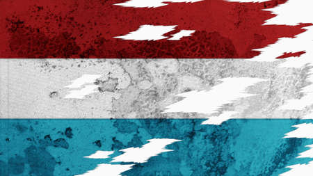 lacerate: luxembourg flag lacerate old texture with seam Stock Photo