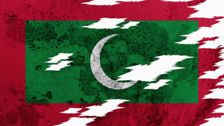 lacerate: maldives flag lacerate old texture with seam Stock Photo