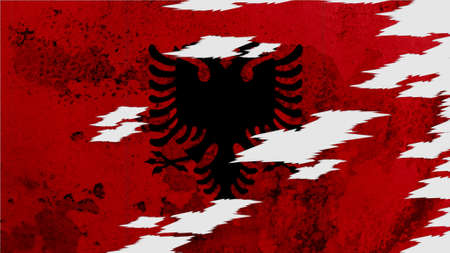lacerate: albania flag lacerate old texture with seam Stock Photo