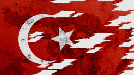 lacerate: turkey flag lacerate old texture with seam Stock Photo