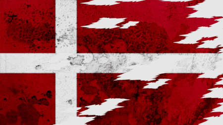 lacerate: denmark flag lacerate old texture with seam Stock Photo