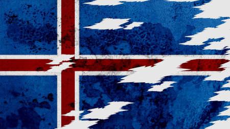 flag of iceland: islandia bandera lacerado textura antigua con costura