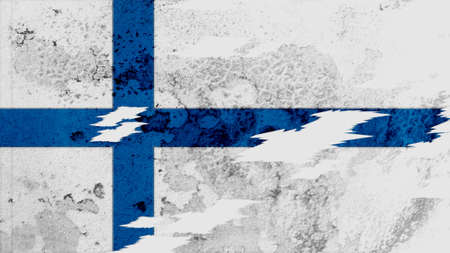 lacerate: finland flag lacerate old texture with seam Stock Photo