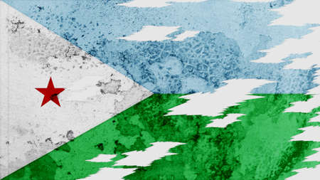 lacerate: djibouti flag lacerate old texture with seam