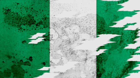 lacerate: nigeria flag lacerate old texture with seam