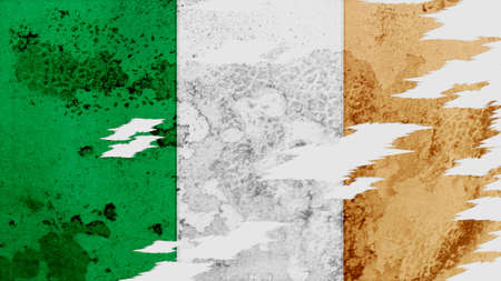 clime: ireland flag lacerate old texture with seam