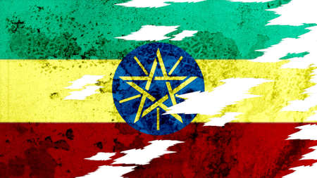 lacerate: ethiopia flag lacerate old texture with seam