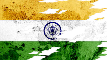 lacerate: india flag lacerate old texture with seam