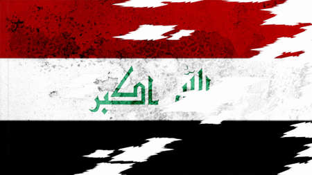lacerate: iraq flag lacerate old texture with seam