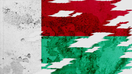 lacerate: madagascar flag lacerate old texture with seam Stock Photo