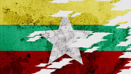 lacerate: myanmar flag lacerate old texture with seam