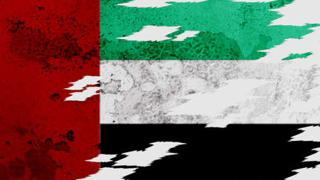 lacerate: united arab emirates flag lacerate old texture with seam Stock Photo
