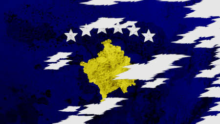 lacerate: Kosovo flag lacerate texture