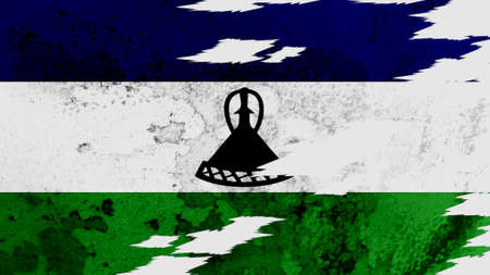 lacerate: Lesotho flag lacerate texture Stock Photo