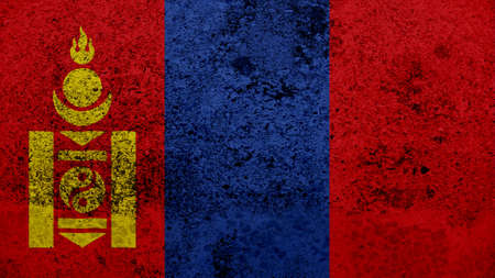 clime: mongolia  Flag on the old wall texture