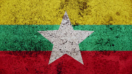 clime: myanmar Flag on the old wall texture