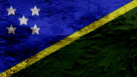 clime: solomon islands Flag painting texture Stock Photo