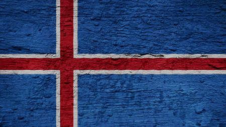 flag of iceland: Bandera de Islandia en la textura de la pared