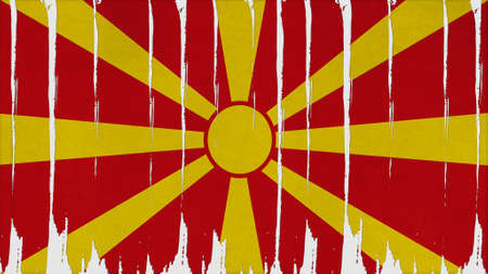clime: macedonia Flag vertical paint texture big size.