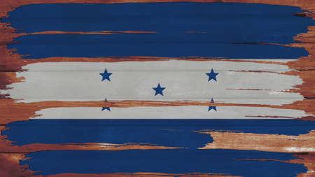 bandera honduras: Bandera Honduras te�ido horizontal en la textura de la madera