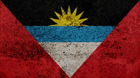 clime: antigua and barbuda Flag on the old wall texture
