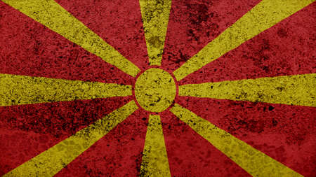 clime: macedonia Flag on the old wall texture Stock Photo