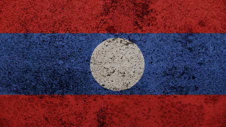 clime: laos Flag on the old wall texture Stock Photo