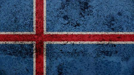 flag of iceland: Bandera de Islandia en el viejo textura de la pared