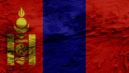clime: mongolia Flag painting texture Stock Photo